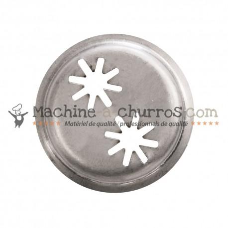 Buse double étoile pour machine à churros Ø 38mm - Acier inoxydable 18/8